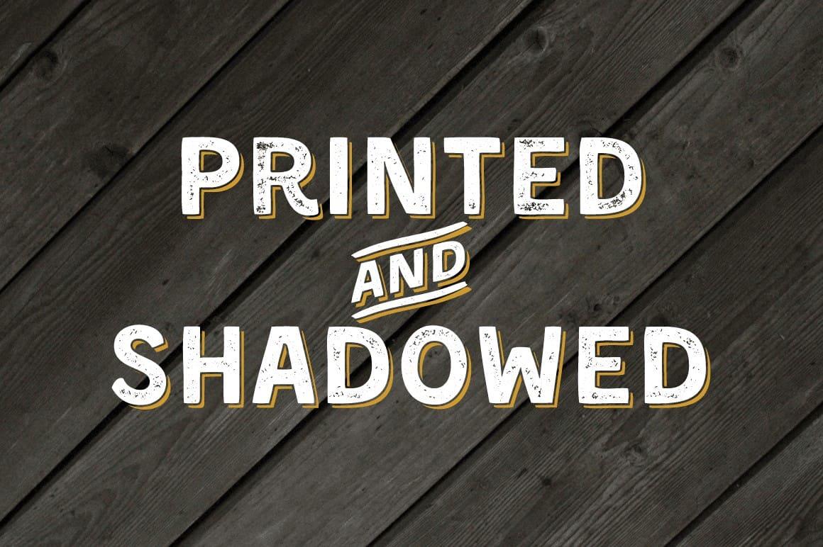 Kent F Printed and Shadowed Font