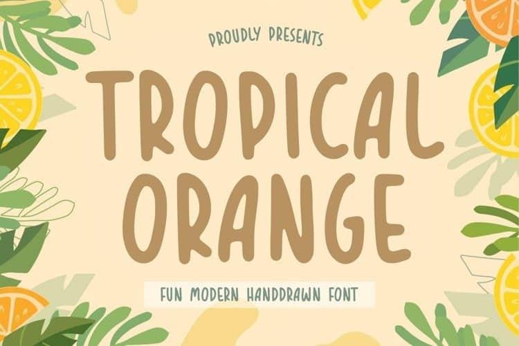 Tropical Orange Handdrawn Font
