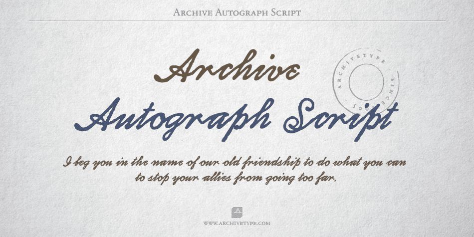 Archive Autograph Script Font